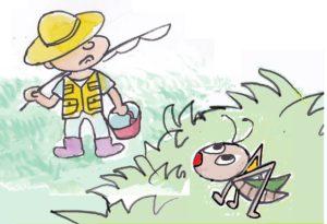 シュロの葉でバッタをつくろう!